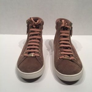 UGG OLIVE SUEDE RIB KNIT COLLAR FAWN HIGH TOP